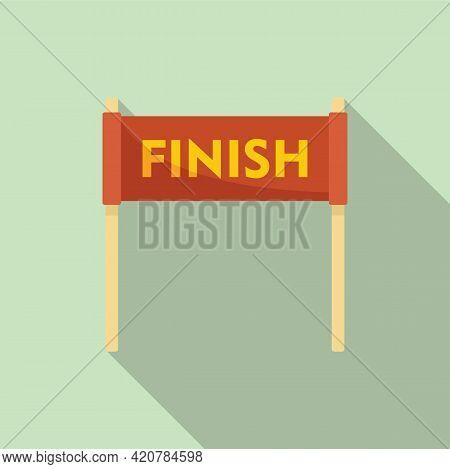Running Finish Banner Icon. Flat Illustration Of Running Finish Banner Vector Icon For Web Design