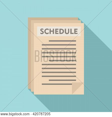 Syllabus Paper Schedule Icon. Flat Illustration Of Syllabus Paper Schedule Vector Icon For Web Desig