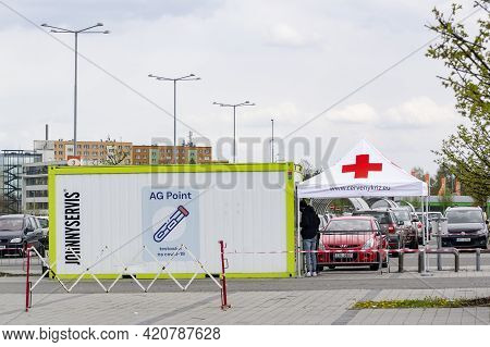 Ostrava, Czech Republic - May 3, 2021: Ag Point, The Covid-19 Testing Centre Of Cerveny Kriz On A Pa