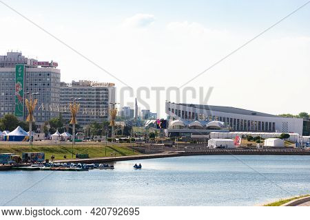 Minsk. Belarus. Summer 2019. Pobediteley Avenue With The Sports Palace Across The Svisloch River
