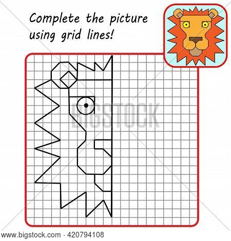 Educational Game For Kids. Simple Exercise Lion. Drawing Using Grid. Symmetrical Drawing. Vector Ill