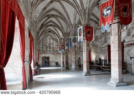 HUNEDOARA, ROMANIA - MAY 7, 2021: Architectural details of Corvin Castle, also known as Hunyadi Castle or Hunedoara Castle, Hunedoara County, Transylvania, Romania