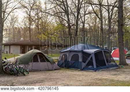 Camping And Tents On The Campground In The Spring