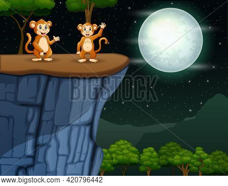 Cartoon Of Two Monkeys Waving On The Cliff At Night