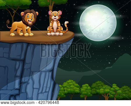 Cartoon A Lion And Tiger On The Cliff