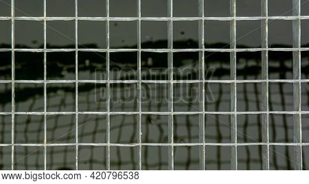 Galvanized Steel Grate Drain Close Up. Iron Grating Pattern. Grid. Abstract. Background.