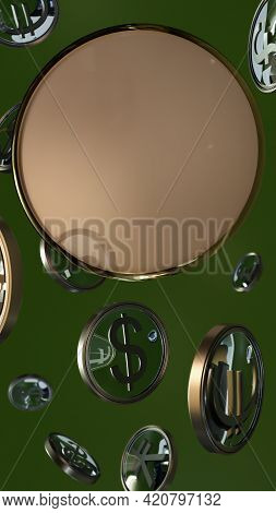 Circle In A Gilded Rim With Space For Text Or Logo, Surrounded By Currency Symbols In Round Gilded F