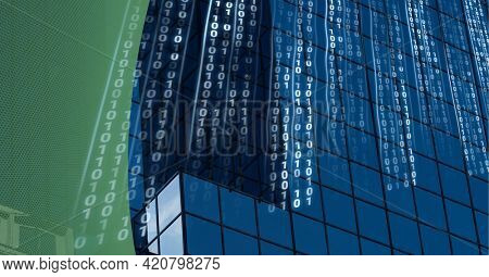 Composition of binary coding over modern office building and green edge. global business, connections and technology concept digitally generated image.
