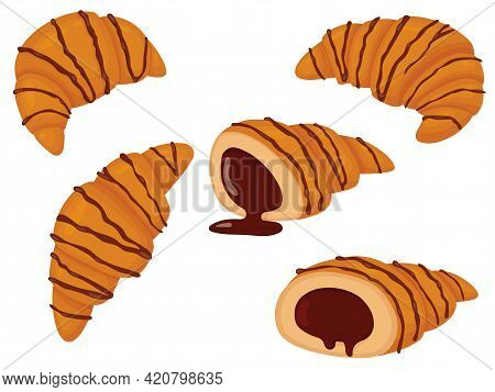 Set Of Croissant Poured With Chocolate. Vector Illustration Of Sweet Pastries Isolated On White Back