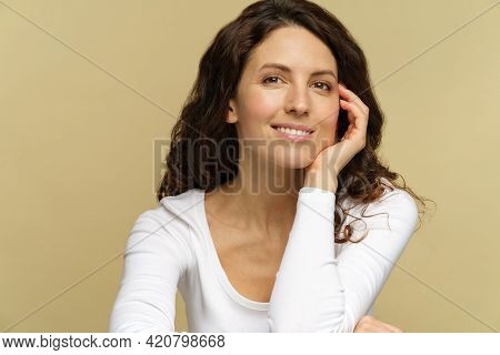 Young Adult Woman With Clean Perfect Skin And White Smile Posing, Studio Portrait Shot Of Attractive