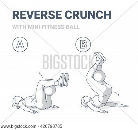 Girl Doing Reverse Crunch With Fit Or Medicine Ball Home Workout Exercise Guidance Illustration.