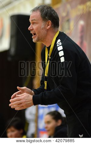 SIOFOK, HUNGARY - FEBRUARY 9: Oldrup Jelsen Fehervar trainer in action at a Hungarian National Championship handball match Siofok KC (black) vs. Fehervar KC (blue), February 9, 2013 in Siofok, Hungary.