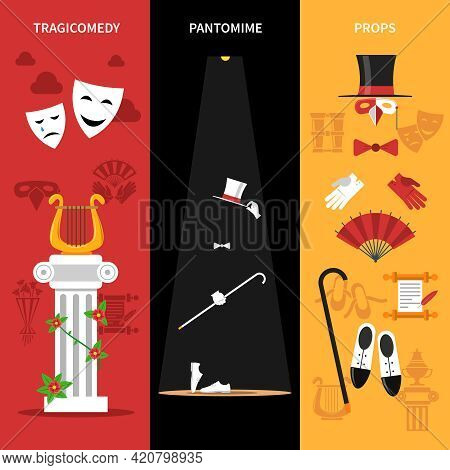Theatre Performance Vertical Banners Set With Tragicomedy Pantomime And Props Symbols Flat Isolated