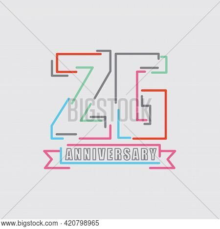 26th Years Anniversary Logo Birthday Celebration Abstract Design Vector Illustration. Eps 10