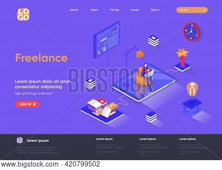 Freelance Isometric Landing Page. Outsourcing Services, Home Office Isometry Concept. Professional S