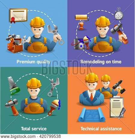 Premium Remodeling Service And Technical Assistance In House Renovation 4 Isometric Icons Square Com