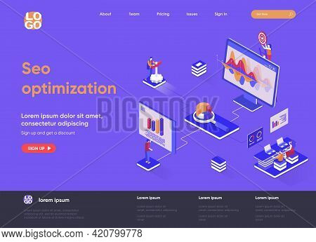 Seo Optimization Isometric Landing Page Design. Internet Analytics, Online Research Software Isometr