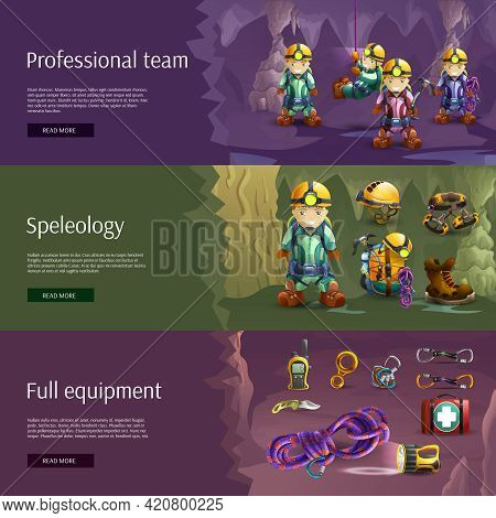 Professionally Equipped Speleologist Team Tools And Wear Horizontal Interactive Internet Site 3d  Ba