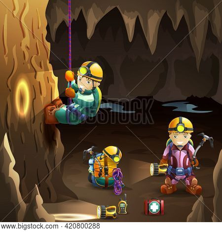 Professionally Equipped  Speleologists In Cave With Stalagmite And Stalactite On The Background 3d P