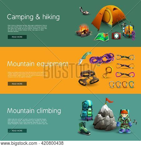 Alpine Mountain Climbing Camping And Hiking Equipment Interactive Website 3d Horizontal  Banners Set