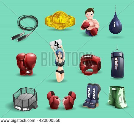 Mixed Martial Arts Mma Fighter Ring Cage Equipment And Accessories 3d Pictograms Set Abstract Isolat
