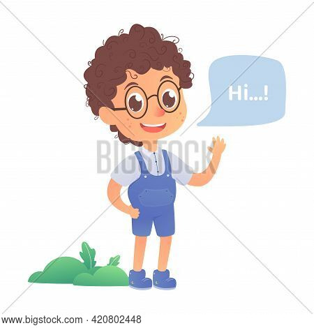 Boy Greet Say Hello, Back To School Vector, Kid Talking, Child With Speech Bubble