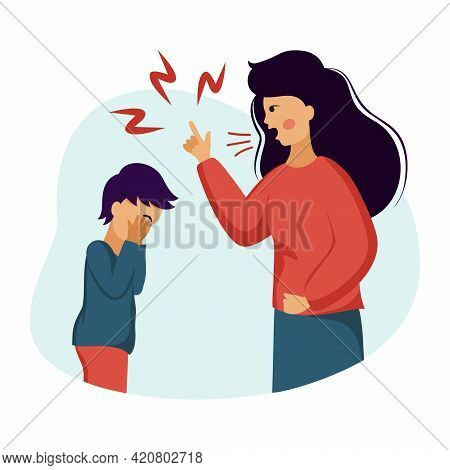 Mother Screams At Child. Family Conflicts And Child Abuse. Crying Baby And Angry Mom.