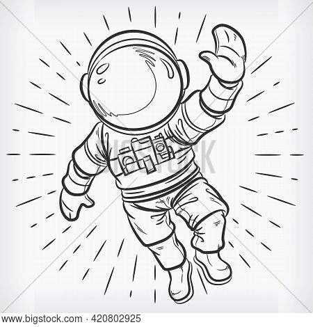 Doodle Floating Astronaut Simple Sketch Drawing Vector Illustration