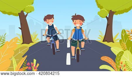 Two Boys Go To School Ride Bicycle On Summer Day, Back To School, Ride Bicycle, Vector Illustration