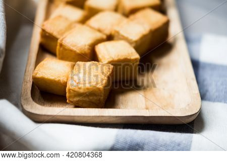 Steam Fish Tofu On Wood Tray Appetizer Before A Main Course.
