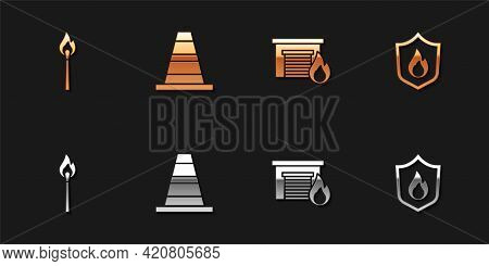 Set Burning Match With Fire, Traffic Cone, Fire Burning Garage And Protection Shield Icon. Vector