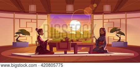 Tea Ceremony In Dojo Room, Women In Traditional Kimono Sit At Served Low Table On Floor Mat Admire P
