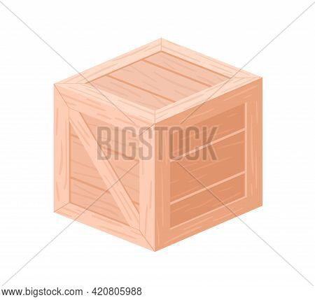 Wooden Delivery Box For Cargo Shipping. Closed Wood Crate For Goods. Square Container With Lid For S