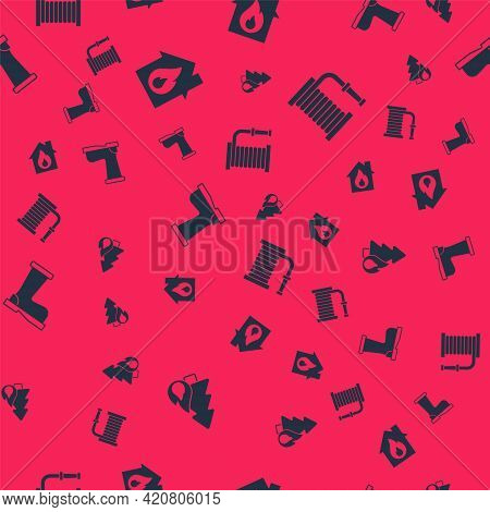 Set Burning Forest Tree, Fire Burning House, Boots And Hose Reel On Seamless Pattern. Vector