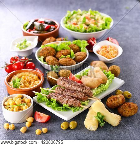 assorted of lebanese food on table