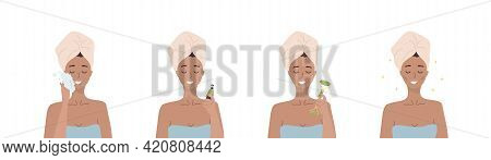 Facial Massage Steps. Woman Do Cosmetic Spa Procedures For Face With Jade Nephrite Roller. Morning R