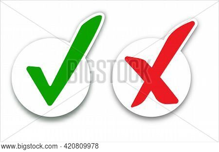 Checkmark Cross On White Background. Isolated Vector Sign Symbol. Checkmark Right Symbol Tick Sign.