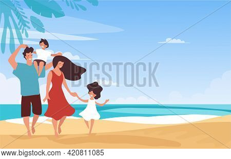 Family Vacation On The Beach, Parents Have Fun With Children At The Sea. Mom And Dad With A Girl And