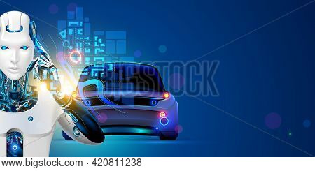 Robot Driver Of Autonomous Car. Ai Of Driverless System Of Vehicles In Image Cyborg. Concept Of Arti