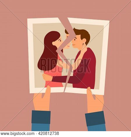 Hands Holding A Torn Photo Of Loving Couple In Flat Design. Broken Heart Concept. Love Hurts. Breaku