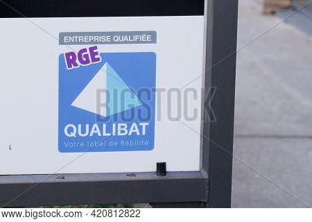 Bordeaux , Aquitaine France - 05 14 2021 : Qualibat Rge Certification French Qualification Label Sig