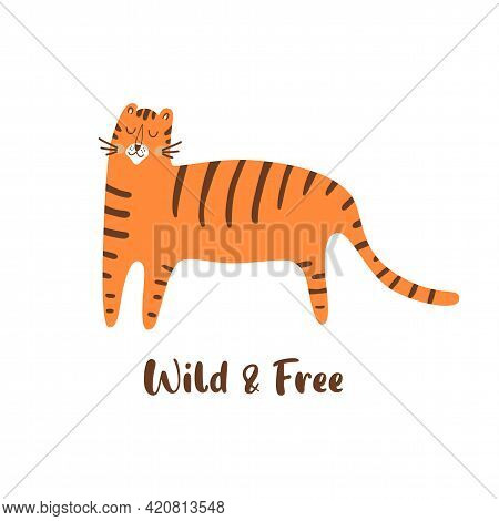 Cute Tiger. Wild Cat Illustration. Hand Drawn Tiger Animal. Wild Life Print. Isolated Graphic Elemen