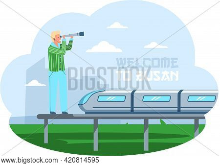 Man Stands On Platform Of Modern Railway With High-speed Train And Looks Through Telescope. Guy On E