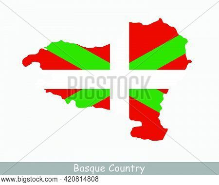 Basque Country Map Flag. Map Of The Basque Autonomous Community With Flag Isolated On White Backgrou