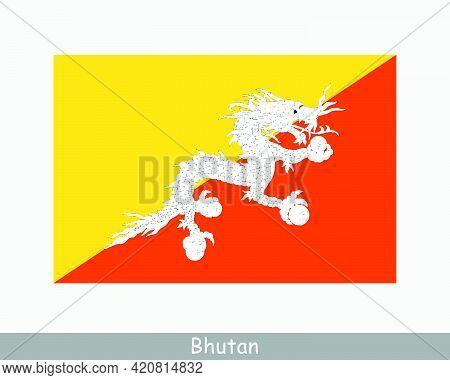 National Flag Of Bhutan. Bhutanese Country Flag. Kingdom Of Bhutan Detailed Banner. Eps Vector Illus