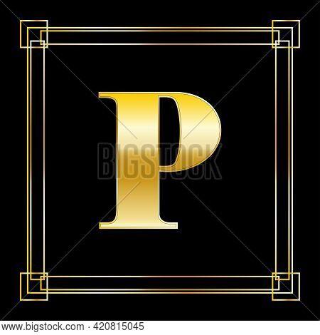Letter P Logo Design With Square Ornament, Luxury Golden Design, Vector Illustration