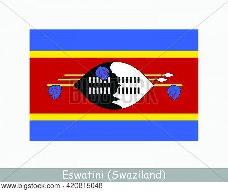 National Flag Of Eswatini. Swaziland Country Flag. Kingdom Of Eswatini Detailed Banner. Eps Vector I