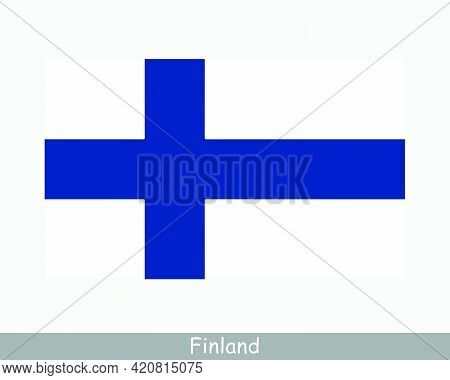National Flag Of Finland. Finnish Country Flag. Republic Of Finland Detailed Banner. Eps Vector Illu