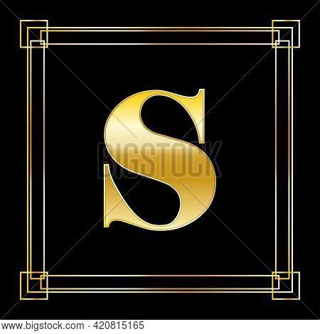 Letter S Logo Design With Square Ornament, Luxury Golden Design, Vector Illustration