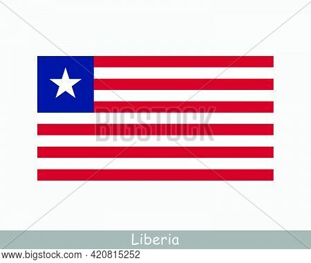 National Flag Of Liberia. Liberian Country Flag. Republic Of Liberia Detailed Banner. Eps Vector Ill